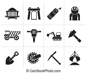 Mining and quarrying industry icons - Black Mining and...