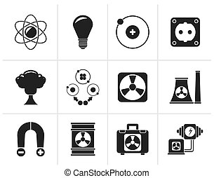 Atomic and Nuclear Energy Icons - Black Atomic and Nuclear...