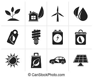 Black Green and Environment Icons