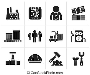 Business, factory and mill icons - Black Business, factory...