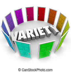 Variety Many Different Doors Choices to Choose Alernative Paths Forward