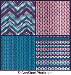 Seamless knitted pattern. Set. collection of blue pink white