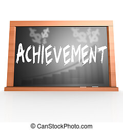 Black board with achievement word