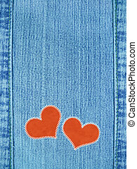 Valentine background - Jeans valentine background with red...