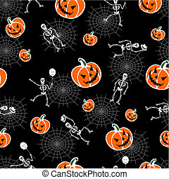 Halloween pumpkins and skeleton background