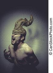 minotauro, capacete, trombetas, dor, guerreira, pesadelo,...