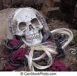 Grim Reaper Skull - Grim reaper halloween skull on a grave