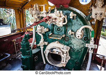 Steam engine room - a steam locomotive engine room with the...