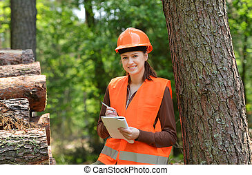 forestry engineer - Young and beautiful forestry engineer at...