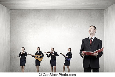 One man band - Young woman in suit playing different music...