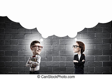 He has great mind - Young funny big headed man and woman in...