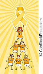 Childhood Cancer Ribbon on top of a Children Tree -...