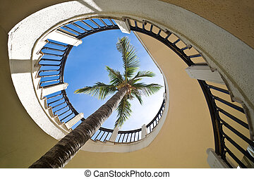 Palm tree through a spiral staircase against clear blue sky