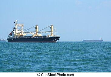 Container cargo ship or ship bulk cargo.