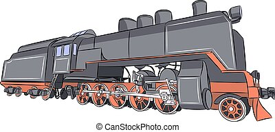 steam locomotive a.eps - Vector. Old steam locomotive.