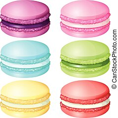 Macaron in different flavor illustration