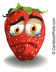 Strawberry with crying face