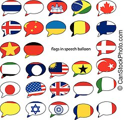 speech balloons with the design of the flags of popular countries.