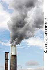Power Plant Smokestack - Smokestack of an electrical power...