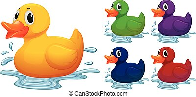 Duck toy in different color illustration