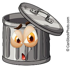 Trashcan with facial expression illustration
