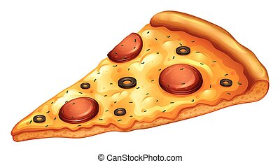 Slice of pepperoni pizza illustration