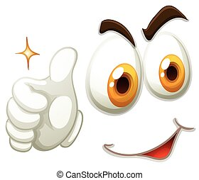 Happy face with thumb up