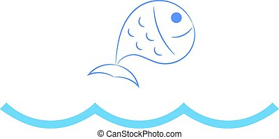 Fish jumping over waves.