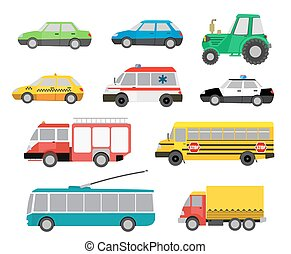 set of cartoon cute cars and special vehicles vector...