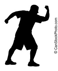 Martial art exercises - Vector illustration of man...