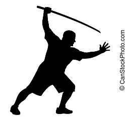 Man with bokken - Vector illustration of man with bokken...