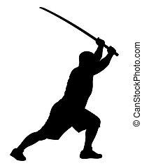 Man with bokken - Vector illustration of man with bokken...