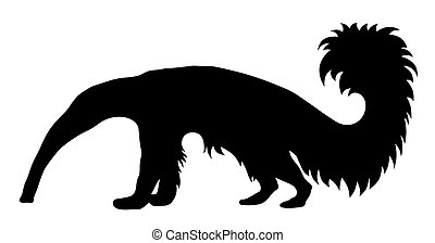 Anteater - Vector illustration of giant anteater silhouette