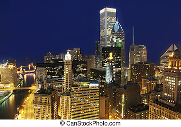 Downtown Chicago at Night - View of downtown Chicago at...