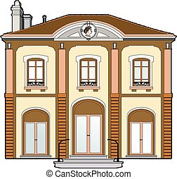 mansion with medallion - Vector illustration of a mansion,...