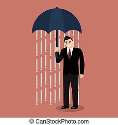 Businessman being wet from raining instead he holding...