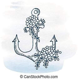 Anchor with flowers on a watercolor background