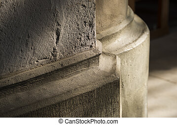 Stone pillar foot in Gothic church - Stone pillar foot in a...