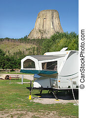 Camper by Devil\'s Tower, Wyoming - Camper by Devil\'s Tower...