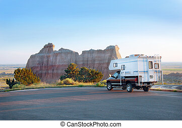 Camper in the Badlands - Recreational Vehicle in the...