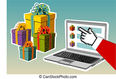 Christmas background. Santa buying online - Christmas and...