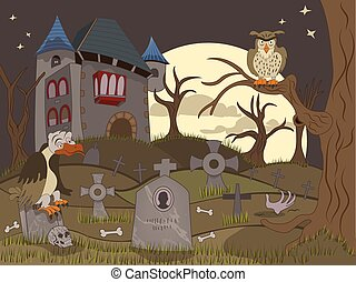 abandoned graveyard - Cartoon vector illustration of an...
