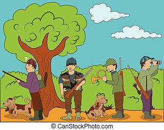 hunting - Vector illustration of hunters with their dogs