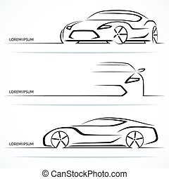 Set of modern car silhouettes. Sports car in three angles....