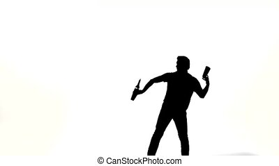 Vector silhouette waiter on a white background silhouette of...