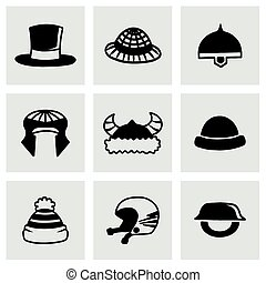 Vector helmet and hat icon set on grey background