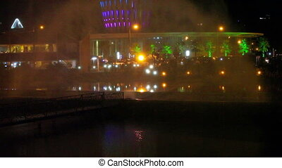 Night view of the dancing fountains.Colorful spectacle in...