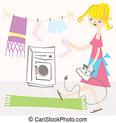 Housewife vector illustration - Woman at home doing...