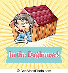 Old saying in the doghouse illustration