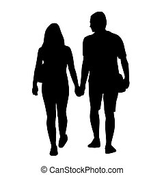 Couple of young people holding hands. Vector silhouettes
